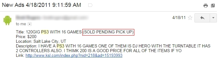 PS3 for Cheap Ad Email Sold