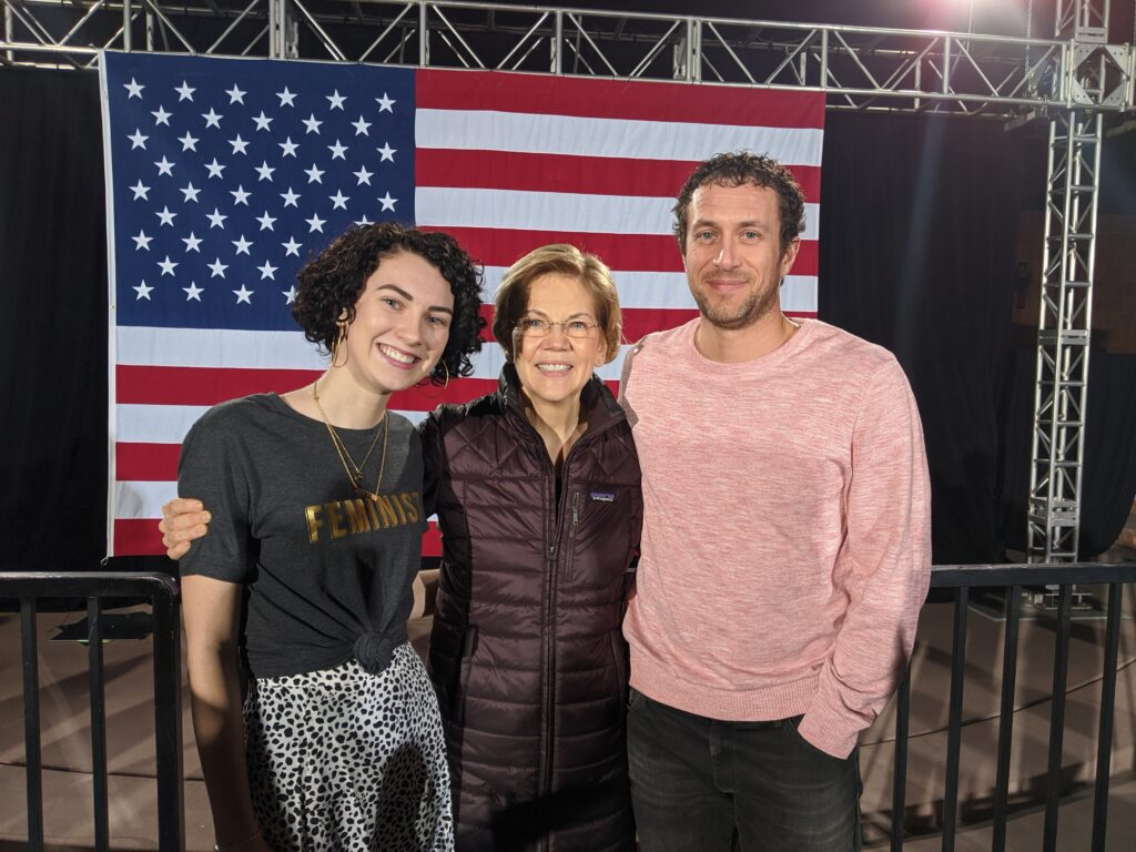 Brett and Whytli with Elizabeth Warren